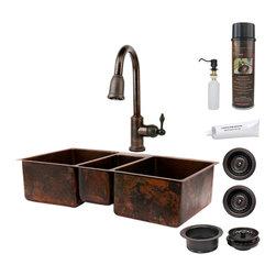 """Premier Copper Products - Premier Copper Products KSP2_KTDB422210 42"""" Copper Kitchen Triple Basin Sink Pkg - Premier Copper Products KSP2_KTDB422210 42"""" Hammered Copper Kitchen Triple Basin Sink Package"""