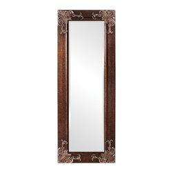 Howard Elliott - Howard Elliott Ashburn Leaner Mirror - Our Ashburn mirror has a mottled brown wood frame with antique silver accents.