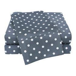 600 Thread Count Full Sheet Set Cotton Rich Polka Dot - Grey - With these Cotton Rich 600 Thread Count Polka-Dot Sheets you can liven up the look of your bedroom. Featuring playful polka dot design on both sides, these sheets create a fun and stylish look that will keep your room looking awesome all year-round. Set includes One Flat Sheet 81x96, One Fitted Sheet 54x75, and Two Pillowcases 20x30 each.