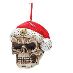 "EttansPalace - Exclusive ""Skelly Claus II"" Skeleton Ornament - Hang on our-exclusive, skeleton tough guy has donned his Santa hat and is ready to party through the holiday season! Cast in hand-painted quality designer resin. The eerie, faux bone finish makes this exclusive skull figurine a holiday gothic collectible."
