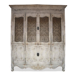 Notredame Bookcase, Antiqued French White with Tones of Grey and Gold Leaf - Notredame Bookcase, Antiqued French White with Tones of Grey and Gold Leaf