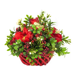 Ceramic Basket with Boxwood and Berry Arrangement - Festive for a holiday centerpiece and a great gift, the colorful small ceramic basket and boxwood and berry arrangement will pull together any table setting look. Bring a little nonpine greenery into your home and enjoy this traditional floral accessory with your family and friends.