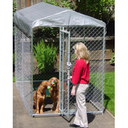 """Jewett-Cameron Companies - Lucky Dog """"Yardguard"""" Box Kennel with Cover, 10'L x 5'W x 6'H - 6' high, box dog kennel, cover included. Easy to assemble welded and galvanized frame. Square corner safety design. Pre-assembled gate for ease of set up."""