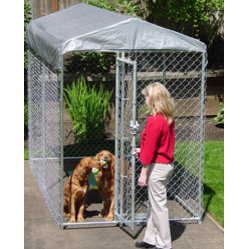 "Jewett-Cameron Companies - Lucky Dog ""Yardguard"" Box Kennel with Cover, 10'L x 5'W x 6'H - 6' high, box dog kennel, cover included. Easy to assemble welded and galvanized frame. Square corner safety design. Pre-assembled gate for ease of set up."