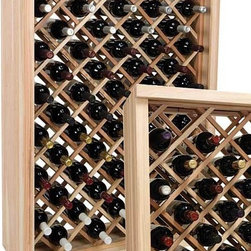 Wine Cellar Innovations - 4 ft. Diamond Bin Wine Rack (All-Heart Redwood - Light Stain) - Choose Wood Type and Stain: All-Heart Redwood - Light Stain. Bottle capacity: 58. Versatile wine racking. Custom and organized look. Each wine bottle is stored in an individual cradle, yet at a diagonal pattern. Can accommodate just about any ceiling height. Optional base platform: 32.88 in. W x 13.38 in. D x 3.81 in. H (5 lbs.). Wine rack: 32.88 in. W x 13.5 in. D x 47.19 in. H (8 lbs.). Vintner collection. Made in USA. Warranty. Assembly Instructions. Rack should be attached to a wall to prevent wobbleThe enhanced design of the Vintner Series Individual Diamond Bin wine rack creates a very dramatic storage display for your prized possessions.. Rack should be attached to a wall to prevent wobble