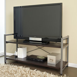 Jesper Office - Tribeca Espresso TV Stand - Versatile and functional,this TV stand with espresso shelves combines contemporary design with smart storage features. The open shelves concept makes wiring a breeze.