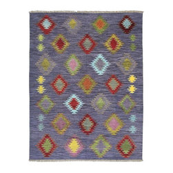 Purple Lanterns Vintage Hand-Dyed Wool Kilim Rug - Newly woven from stockpiles of vintage hand dyed wool, this kilim updates the traditional motifs of Turkish flat weaves, playing with multiple colors for an updated take on handmade decorative rugs. 100% wool.