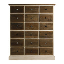 Zentique - Gabriel Chest - This reclaimed oak chest makes a handsome addition to your traditional bedroom or wherever else you need generous, stylish storage. Brown-stained drawers contrast against the off-white base and frame, while glass pulls add a distinctive, vintage-inspired touch.