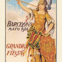 """Buyenlarge.com, Inc. - Barcelona Mayo - Fine Art Giclee Print 24"""" x 36"""" - Another high quality vintage art reproduction by Buyenlarge. One of many rare and wonderful images brought forward in time. I hope they bring you pleasure each and every time you look at them."""