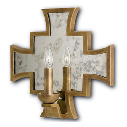 Kathy Kuo Home - Malta Antique Brass Coat of Arms Mirrored Sconce - Impressive and regal, this antique, mirrored sconce reflects Old World luxury and timeless treasure. The heraldic shape is formed from vintage brass and creates a warm, welcoming piece, perfect for an entryway or over a fireplace.