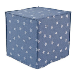 """Chooty - Chooty Denim Stars Collection 17"""" Square Seamed Foam Ottoman - Insert 100 High Density Foam, Fabric Content 100 Cotton, Color Blue, White, Hassock 1"""