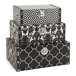 iMax - Essentials Storage Boxes - Black - Bold and graphic patterns wrap the exterior of this handy and stylish set of three storage boxes. With chrome and faux leather detailing in the trim and hardware, these are an easy choice in holding your collectibles or desktop odds and ends.
