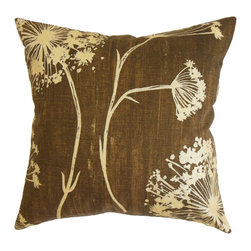 The Pillow Collection - Garuahi Floral Pillow Chocolate - Toss this rich and warm accent pillow anywhere inside your home from your chair, to the sofa or bed. Create a beautiful garden-inspired theme by combining this decor pillow with other floral patterns from our collection. This square pillow features a lovely floral pattern in shades of yellow and natural. The chocolate-hued background brings a striking contrast to the print. Made from 100% soft and durable cotton fabric. Hidden zipper closure for easy cover removal.  Knife edge finish on all four sides.  Reversible pillow with the same fabric on the back side.  Spot cleaning suggested.