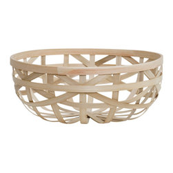 Droog - Bamboo basket medium - A basket can add function to just about any room in your home, and when it's this pretty, why not include a couple? Made of sustainable bamboo, it features a woven lattice design that's both primitive and contemporary at the same time. With the open and airy design, this basket is made for showing off something special.