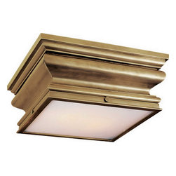 Square Flush Mount - Nice detailing on this flush mount ceiling fixture, which comes in several finishes. Could work well in a bathroom or a hallway with lower ceilings.