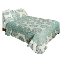 Blancho Bedding - Noble Lake 100% Cotton 3PC Vermicelli-Quilted Patchwork Quilt Set Full/Queen - The [Noble Lake] Quilt Set (Full/Queen Size) includes a quilt and two quilted shams. Shell and fill are 100% cotton. For convenience, all bedding components are machine washable on cold in the gentle cycle and can be dried on low heat and will last you years. Intricate vermicelli quilting provides a rich surface texture. This vermicelli-quilted quilt set will refresh your bedroom decor instantly, create a cozy and inviting atmosphere and is sure to transform the look of your bedroom or guest room. Dimensions: Full/Queen quilt: 90 inches x 98 inches; Standard sham: 20 inches x 26 inches.