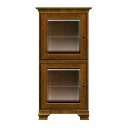 Howard Miller Custom - Ella Cabinet w 2 Doors in Saratoga Cherry - This cabinet is finished in Saratoga Cherry on select Hardwoods and Veneers, with Antique Bronze hardware. 2 doors with beveled Glass. 2 adjustable interior shelves. Cove profile top and Ogee profile base. Hardware: knobs on doors. Features soft-close doors and metal shelf clips. 27 1/4 in. W x 17 in. D x 54 3/4 in. H