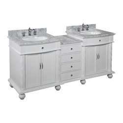 Kitchen Bath Collection - Buckingham 72-in Bath Vanity (Carrara/White) - This bathroom vanity set by Kitchen Bath Collection includes a white cabinet with soft close drawers and self-closing door hinges, Italian Carrara marble countertop, double undermount ceramic sinks, pop-up drains, and P-traps. Order now and we will include the pictured three-hole faucets and a matching backsplash as a free gift! All vanities come fully assembled by the manufacturer, with countertop & sink pre-installed.