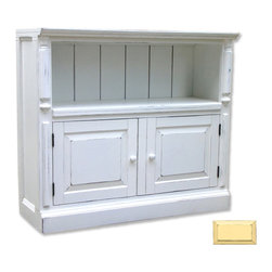 Tradewinds - Hand Painted Cottage Book Credenza, Yellow - Bring home this classic book credenza featuring plate grooves on all shelves. Besides, you can combine it with flush to create a custom unit. This hand painted furniture piece accommodates B-100 storage baskets and has removable shelf in cabinet to offer ample storage space. For easy installation, it comes with adjustable foot levelers.