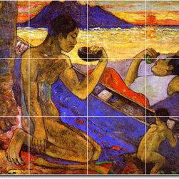 Picture-Tiles, LLC - The Tree Trunk Canoe Tile Mural By Paul Gauguin - * MURAL SIZE: 24x32 inch tile mural using (12) 8x8 ceramic tiles-satin finish.