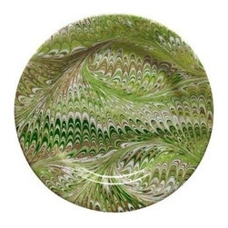 Juliska - Juliska Firenze Green Marbleized Salad Plate - From the Firenze Collection - set against a swirling backdrop of warm cappuccino tones, your greenest greens and freshest delicacies radiate their natural beauty from our stunning salad plate. Our neutral palette blends seamlessly with our other collections and patterns.Unique Green Marbelization. Hand Wash Only Please. Dimensions: 9W. Handmade in Portugal