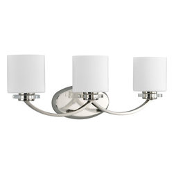 Thomasville Lighting - Thomasville Lighting P2014-104 Nisse 3 Light Bathroom Fixture - Thomasville Lighting P2014-104 Three Light Nisse Bathroom FixtureA simple arched arm and glass discs compliment the slick Polished Nickel finish and classic Etched Opal Glass for the perfect balance of new and old. Featuring the best of classic forms and contemporary sensibilities, this transitional three light bath / vanity bar will enhance the look of any room in your home.A striking blend of vintage elegance and modern drama, our Nisse collection is adorned with chunky discs of clear glass and draped in cascades of shimmering glass beads with cut-prism drops. Dress up a room with a family of fixtures adorned with shimmering glass accents and curved arms with a polished nickel finish.Thomasville Lighting P2014-104 Features: