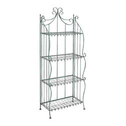 None - Black Metal 4-shelf Bakers Rack - A perfect solution for all your storage woes,this elegantly designed metal bakers rack is sure to jazz up your home decor. With 4 beautiful shelves,this metal rack is long and spacious to accommodate many utility items and decorative showpieces.