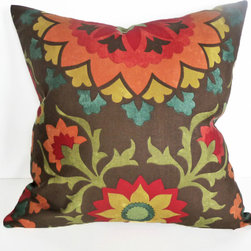PillowThrowDecor - Bold Earthy Suzani Pillow - Modern, trendy pillow cover in a vivid organic colors in spicy orange, red, mustard yellow sage green, teal blue against a rich brown background.