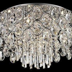 Lite Source - Lite Source Cashlin Modern / Contemporary Flush Mount Ceiling Light X-90105-LE - The Cashlin collection beautifully transformsinteriors with Bling magnificence andcomtemporary design. It features crystal studded wavy metal frame in polished chrome finish and assorted clear crystal drops that are ideal for any modern decor.