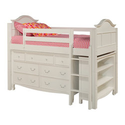 Bolton - Bolton Emma Twin Low Loft Storage Bed with Emma 7-Drawer Dresser and Bookcase In - Emma Bed with added details and timeless design