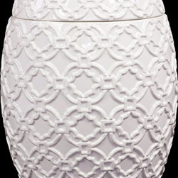 "Benzara - Drum Shaped Ceramic Jar with Beautiful Motif in White - Grand and majestic, the Drum Shaped Ceramic Jar with Beautiful Motif in White is the perfect decor item to adorn your dressing table, shelf or table. This elegantly designed ceramic jar features beautiful inlays, motifs and lines in a symmetrical design. Perfect for storing valuables, trinkets, jewelry, and other ancillaries, the ceramic jar is both a decor item and a storage unit. The dimensions of the Drum Shaped Ceramic Jar with Beautiful Motif in White are 8""x8.5""x11""H. Ceramic; White; 8.5""x8.5""x11""H; Dimensions: 9""L x 9""W x 11""H"
