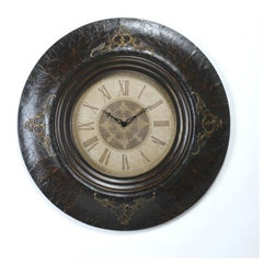 Avery Wall Clock - Boldly beautiful, the Avery wall clock has an embossed frame with raised, gold accents and an antiqued face paper with Roman numerals.  This clock with a masculine feel would be great in a gentleman's study.
