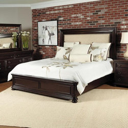 Samuel Lawrence - Chandler 6 Piece Eastern King Bedroom Set in Chest Nut - 8540- - Set includes Eastern King Bed, Dresser, Mirror, Nightstand, Chest and Media Chest