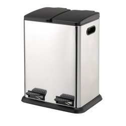Dual Compartment Step-On Recycling Bin - Stainless Steel - Great looks and functionality, just the thing I look for when shopping for clients (or myself)! These days every kitchen seems to need at least three or four compartments for the trash sorting, this is a great option if you need to add compartments in your kitchen.