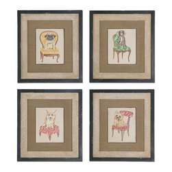 Pampered Pets Framed Art, Set of 4 - *These Oil Reproductions Feature A Hand Applied, Sand Texture Finish. Outer Section Of Frames Are Heavily Distressed With Black Undertones And A Heavy Gray Wash. Inner Lips Have An Off-white And Taupe Stucco Finish. Dog Images Are Mounted On Raised Board On Medium Brown Burlap For A 3-dimensional Effect.