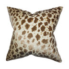 """The Pillow Collection - Hepzibah Animal Print Pillow Brown 18"""" x 18"""" - Show off the wild side of your interior by decorating this eye-catching animal print throw pillow. This toss pillow lends an exotic and exciting vibe to your living space with its unique pattern in shades of gold, neutral and brown. Drop this square pillow on your sofa, chair or seat for a charming look."""