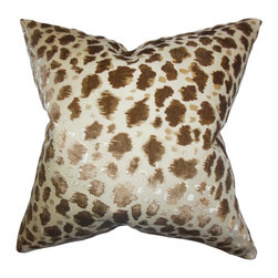 "The Pillow Collection - Hepzibah Animal Print Pillow Brown 18"" x 18"" - Show off the wild side of your interior by decorating this eye-catching animal print throw pillow. This toss pillow lends an exotic and exciting vibe to your living space with its unique pattern in shades of gold, neutral and brown. Drop this square pillow on your sofa, chair or seat for a charming look."
