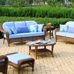 Wicker Conversation Sets - South Sea Rattan Savannah Wicker 6 Piece Conversation Package