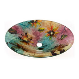 "Legion Furniture - Multi Colored Round Glass Vessel Sink 184 - This multi toned glass bowl is made of high quality tempered glass. Sink features handpainted daisy flower design with teal, purple, yellow and burgundy tones.  Material: Double Layer Tempered Glass; Color: Sink Features Handpainted Daisy Flower Design with Teal, Purple, Yellow and Burgundy Tones; Dimensions: 16.5"" X 5.5""; Thickness: 0.5""; Drain Hole: 1.75""; Weight: 20 lbs; Installation: Top Mount; Included: Chrome Pop-Up Drain and Mounting Ring; Not Included: Faucet."