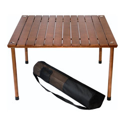Table-in-a-bag W2716 with Carrying Bag, Brown - This table-in-a-bag is just what you need for impromptu picnics and outings. The table top rolls up and the legs screw on and off for easy setup and takedown.