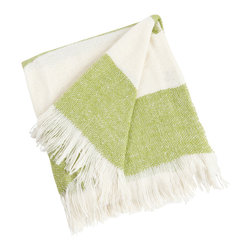 Saro - Striped Throw, Lime - Striped Throw, Lime