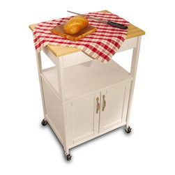 Catskill Craftsmen - Kitchen Trolley w White Finish & Open Storage - Made of Rubberwood/MDF lacquered wood. Solidly constructed with warp-resistant materials. Natural hardwood top. Open and enclosed shelf for easy storage. Locking caster wheels. Minimal assembly required. Overall: 17.5 in. L x 23.5 in. W x 34.25 in. H (41 lbs.). Interior drawer: 13.25 in. L x 18.5 in. W x 3 in. H. Interior cabinet: 14.5 in. L x 20 in. W x 15.75 in. H. Open shelf: 16.5 in. L x 21.75 in. W x 9.5 in. HAs rugged and as beautiful as the Catskill Mountains, our imports reflect our commitment to quality. Designed by Catskill Craftsmen.