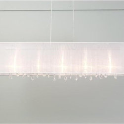 Rectangular Organza Shade & Crystal Chandelier - This chandelier is simple, romantic elegance.