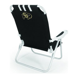 "Picnic Time - University of Colorado Monaco Beach Chair Black - The Monaco Beach Chair is the lightweight, portable chair that provides comfortable seating on the go. It features a 34"" reclining seat back with a 19.5"" seat, and sits 11"" off the ground. Made of durable polyester on an aluminum frame, the Monaco Beach Chair features six chair back positions and an integrated cup holder in the armrest. Convenient backpack straps free your hands so you can carry other items to your destination. Rest and relaxation come easy in the Monaco Beach Chair!; College Name: University of Colorado; Mascot: Buffaloes; Decoration: Digital Print"