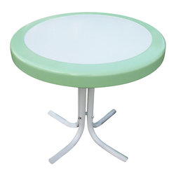 4D Concepts - Metal Retro Round Table - Beautifully crafted retro table. End table is perfect for any room of the house. Unit can be moved wherever you need an additional table. Metal table top is trimmed in a vibrant shade of vintage green. Rich powder coated white and green trim give it a distinct look. Beautifully tapered legs flair out at the bottom to give the table a unique and durable look. Constructed of metal. Clean with a dry non abrasive cloth. Assembly required. 22 in. Dia. x 19.5 in. H (11 lbs.)