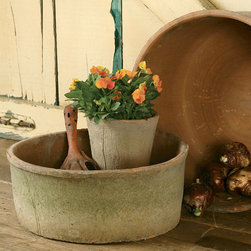 Rustic Terra Cotta Grande Cylinders - Set of 2 - Wide, shallow containers have multiple uses in creating a container-garden landscape, but this pair of vessels, the Rustic Terra Cotta Grande Cylinders in Antique Red, also serves admirably for creating summery desert-hued centerpieces and for introducing the warmth of an unfinished, aged roughness to the look of your space.  Handcrafting and natural weathering yielded this impressive set.