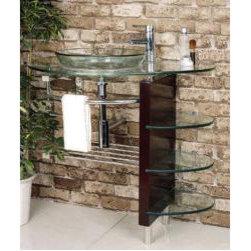 Kokols Wall-mount Bathroom Glass Vessel Sink Vanity Combo -