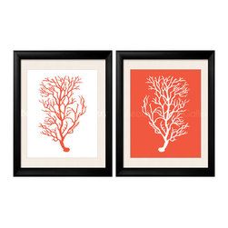 Coral Artwork, Orange Coral, Coral Prints - Two 8x10 archival quality prints of antique sea coral: One is a great silhouette on an Orange Coral background, the other one is an orange silhouette on a crisp white background.