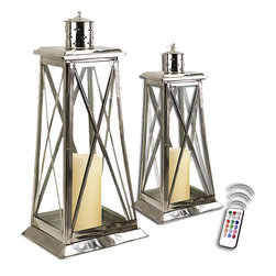 """Asian Import + USA - Palm Beach Elite Lanterns with Flameless Candles - High style and eye catching, the Elite is unique, modern and contemporary, but certainly not traditional! Handcrafted of steel and sparkling glass, these nautically inspired candle lantern shapes are a dramatic design of a coastal lighthouse. Perfect for an indoor accent showpiece. Sleek and sophisticated, they glow brightly from our Palm Beach Collection. These were hand made with exemplary detail and there may be slight variations in finish, color and texture. Approximately 17 and 25"""" high. Included are 5"""" and 6"""" melted edge color candles with a remote control. Set of 2"""