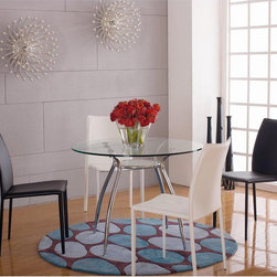 None - Belmont Glass Dining Table - With a thick durable tempered glass table top rests above a sturdy eye-catching curved chrome legs,the contemporary style Belmont round glass dining table is a sleek addition to your dining room.